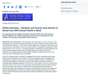 holistic,mercury free,dentistry,dental,approach,dentist,markham,toronto,dr,susie,ang,dds,tmj